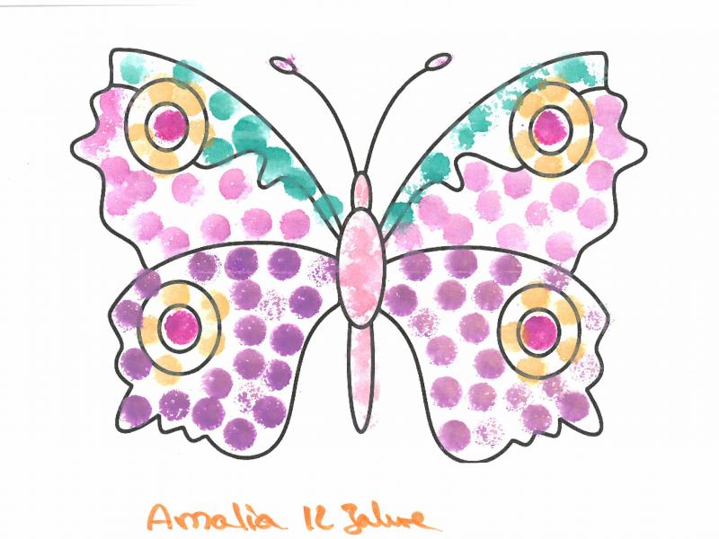 Vielen Dank an Marilou und Amalia für die tollen gemalten Schmetterlinge. Wir haben uns über diese Aufmerksamkeit sehr gefreut. Ganz begeistert waren wir von der Geschichte hinter diesem Schmetterling. Der Schmetterling und der Brief dazu bekommen einen besonderen Platz in unserer Einrichtung.